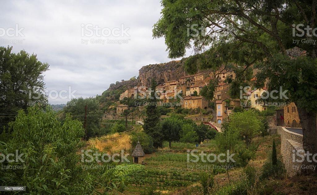 small French hillside village stock photo