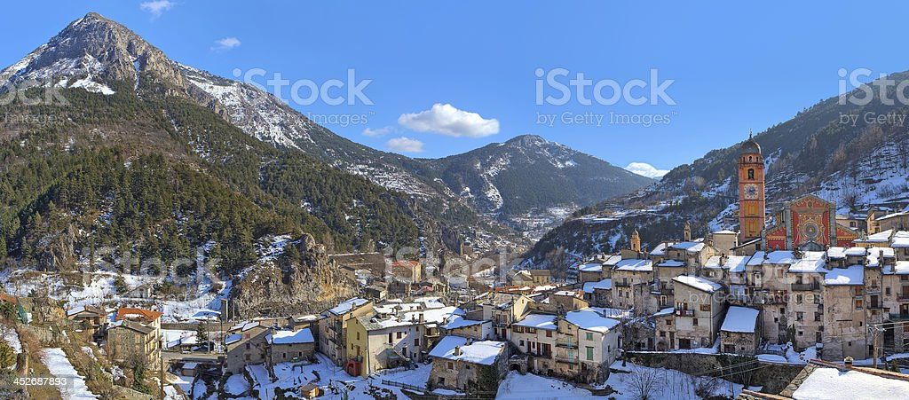 Small french town of Tende in Alps. stock photo
