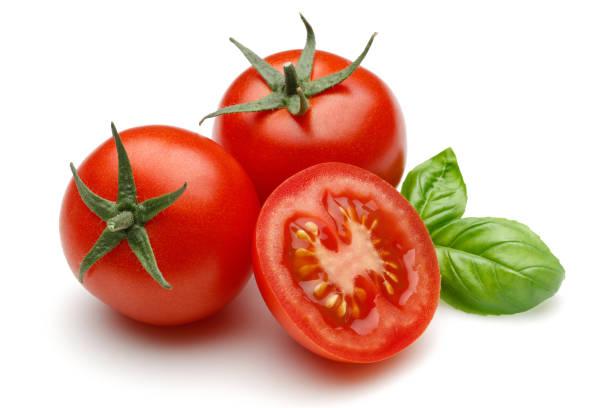 petites tomates fraîches, basilic - tomate photos et images de collection