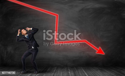 istock Small frightened businessman under huge red kinked arrow pointing down 627746730