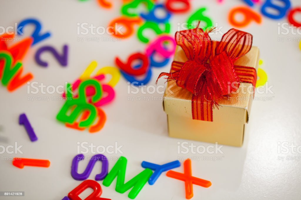 Small Gift Box And Colorful Abc Alphabet Block Plastic