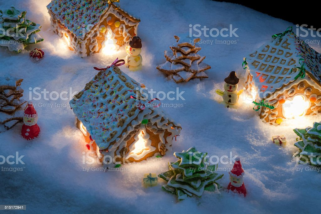 Small gingerbread village built from sweetness stock photo