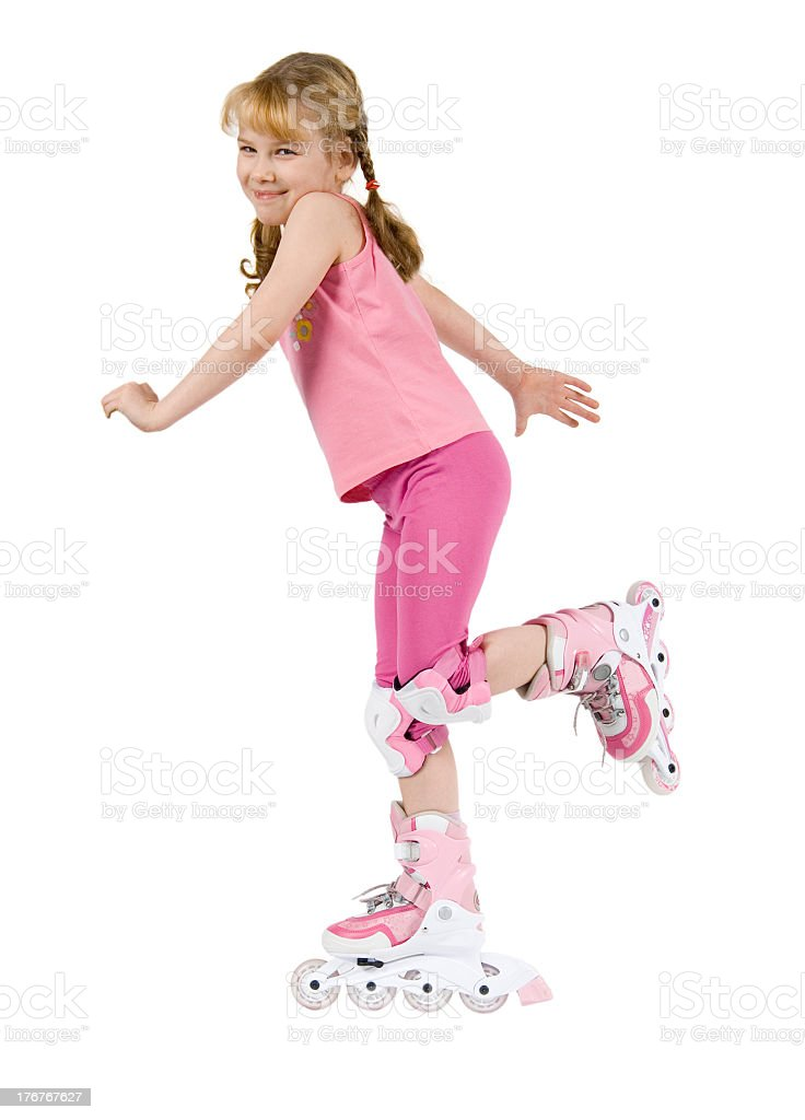 Small girl on roller-skate royalty-free stock photo