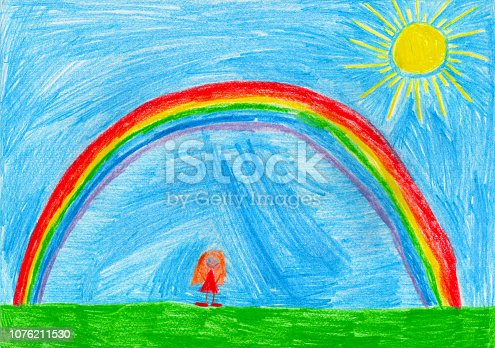 istock Small girl under the rainbow, child's drawing 1076211530