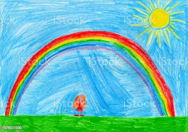 Small girl under the rainbow childs drawing picture id1076211530?b=1&k=6&m=1076211530&s=612x612&h=ibitx2wdqhnb1hyzhgnhm29yqt3umqredweifachyr0=
