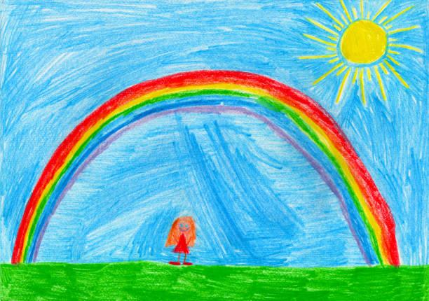 small girl under the rainbow, child's drawing - fumetto creazione artistica foto e immagini stock