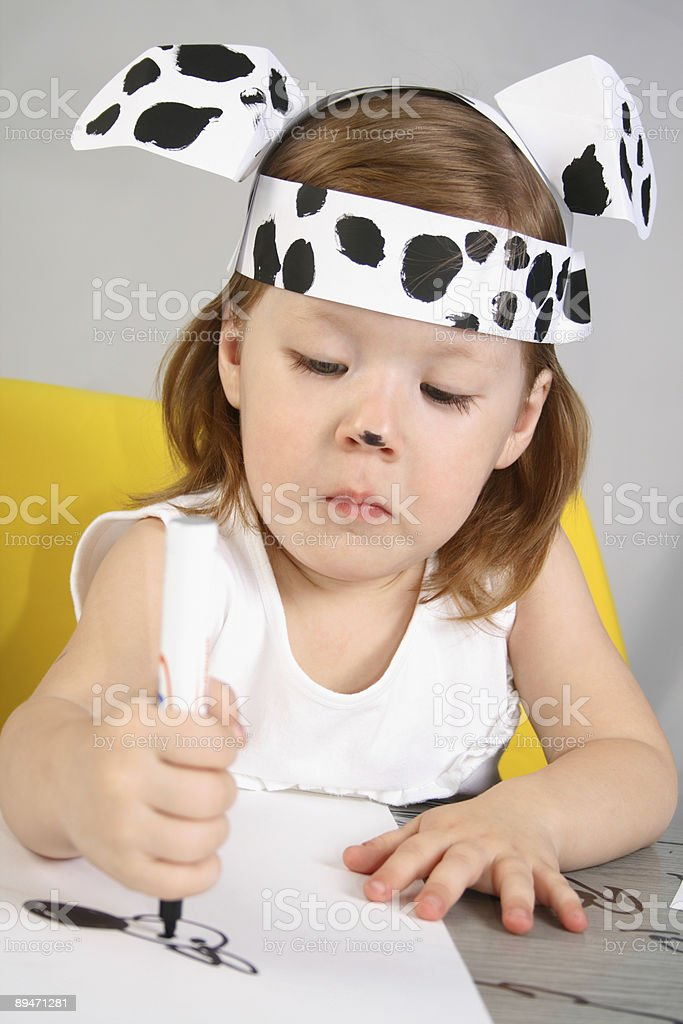 Small girl with dalmatian mask royalty-free stock photo