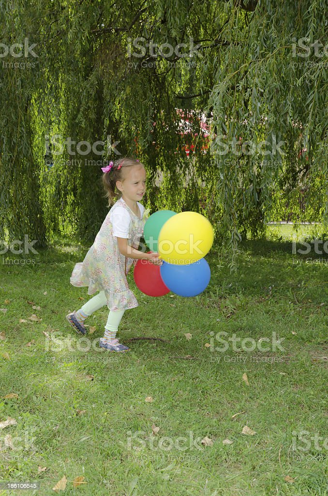 small girls with aerial balloon royalty-free stock photo