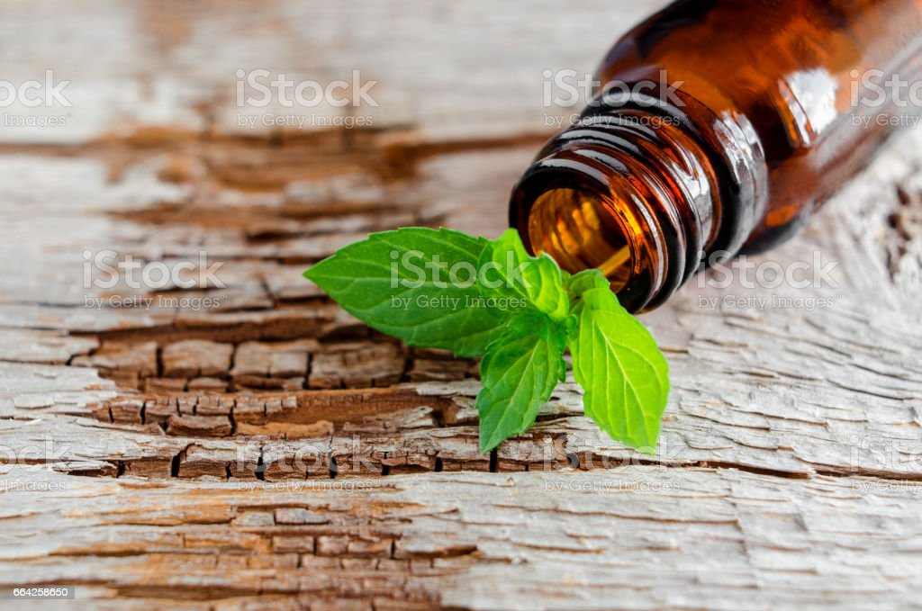 Small glass bottle on an old wooden background and fresh mint leaves, close up. Aromatherapy and spa ingredientes. stock photo