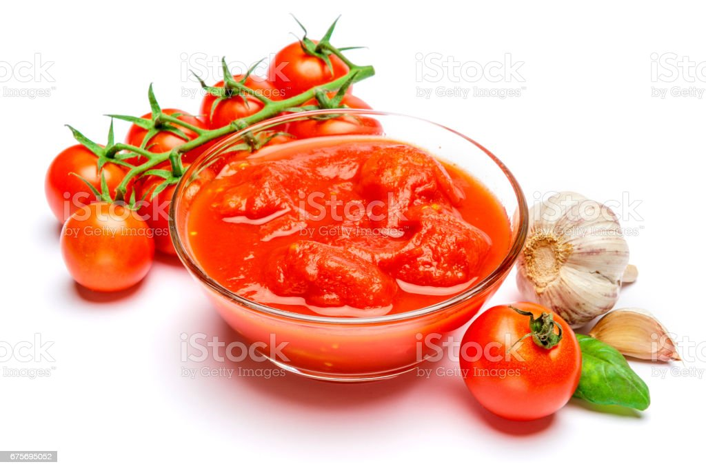 Small glass condiment bowl of red tomato sauce ketchup of peree royalty-free stock photo