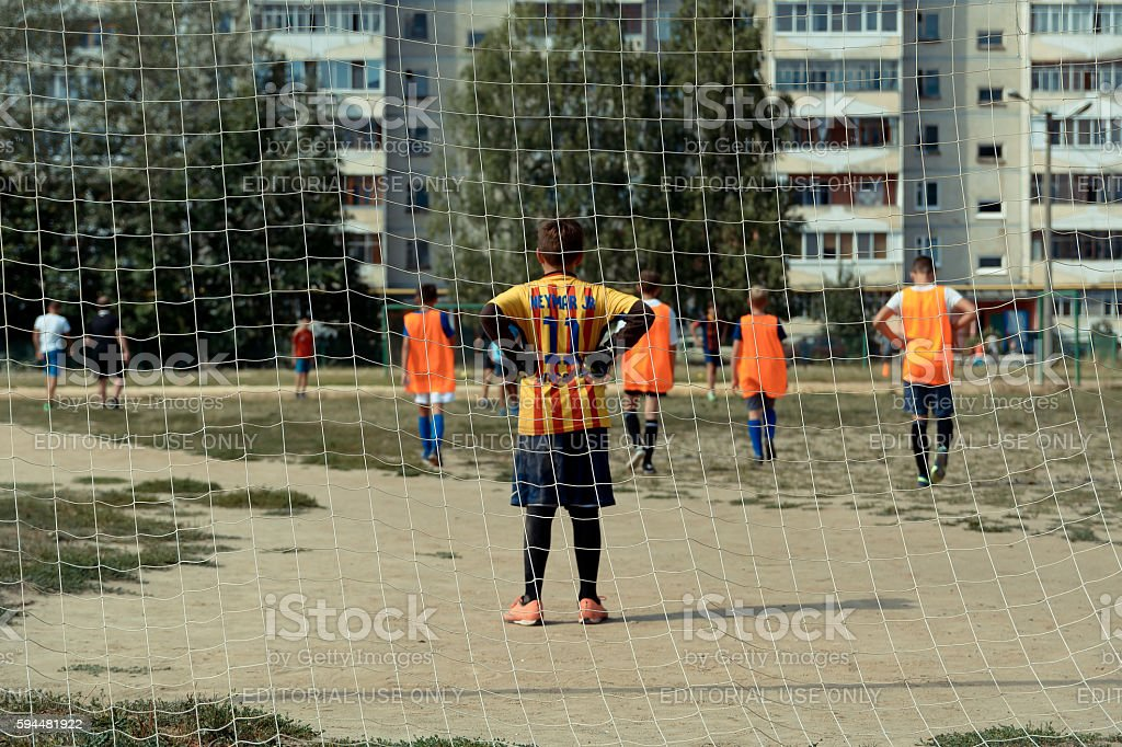 Small goalkeeper - Foto de stock de Adolescente royalty-free