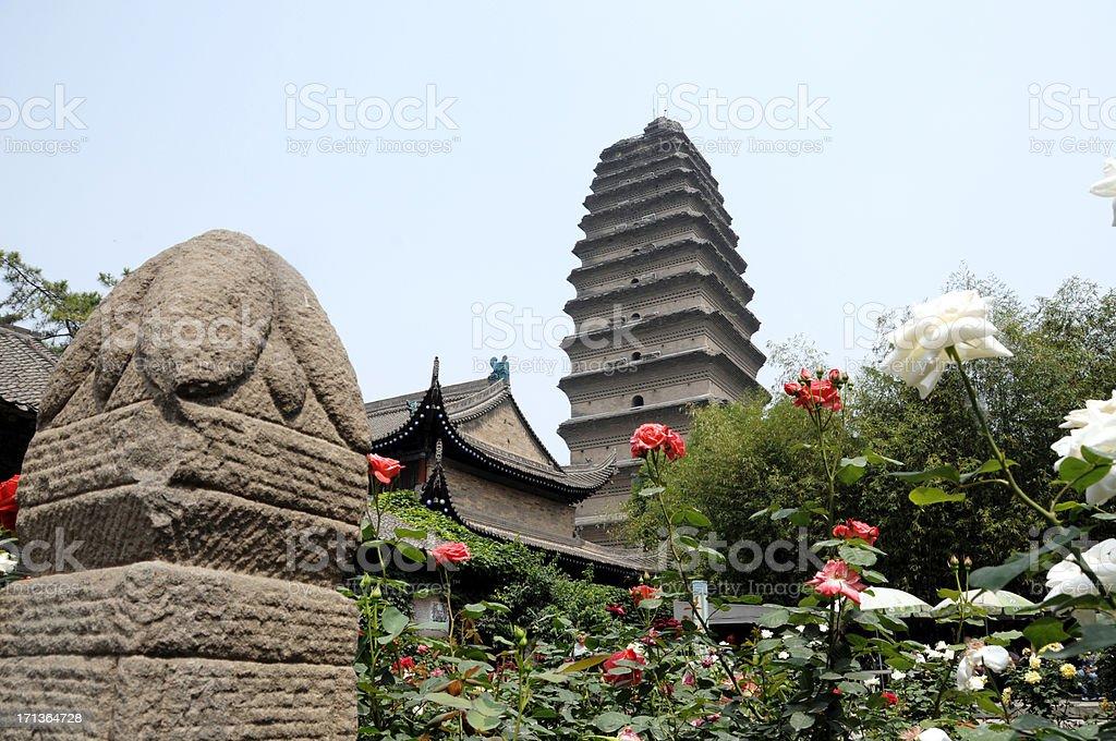 Small Goose Pagoda & Garden - Xi'an China royalty-free stock photo