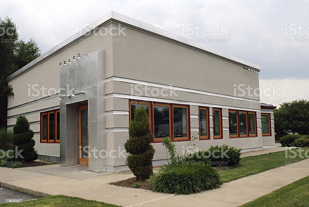 Small Gray Business Building stock photo