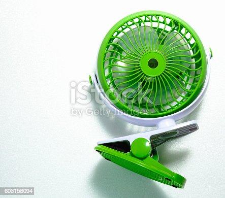 istock small green portable battery fan 603158094