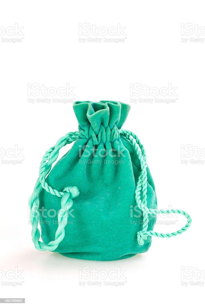 Small green velvet pouch stock photo