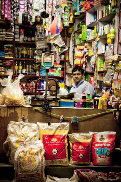 Small Grocery shop in New Delhi stock photo