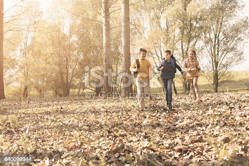istock Small group of children returning from school. 640099944