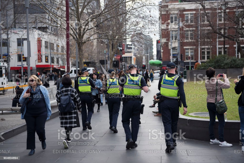 Police officers in Melbourne, Australia stock photo