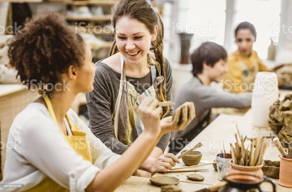 Small Group of People Doing Pottery in an Art Studio
