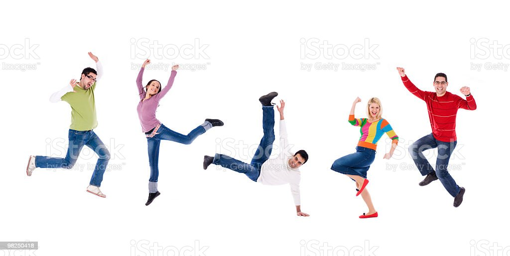 Small group of people jumping royalty-free stock photo