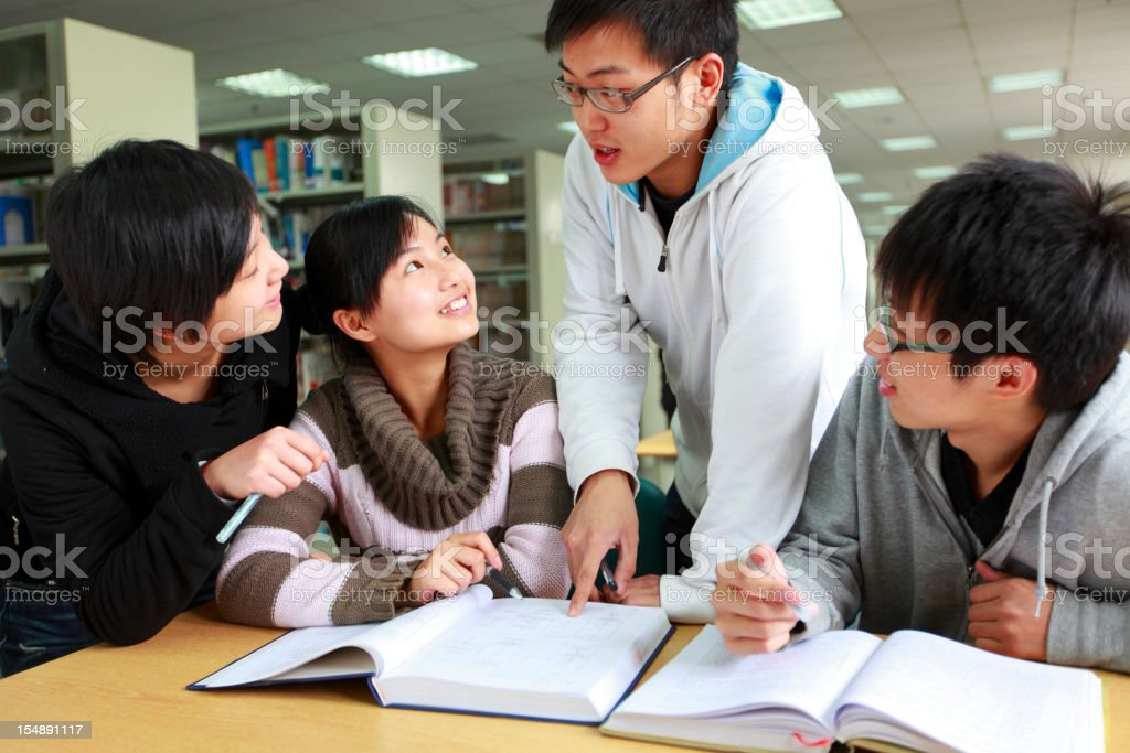 small group of students discussion royalty-free stock photo