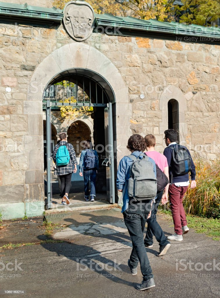 Small group of students going in College University entrance. stock photo