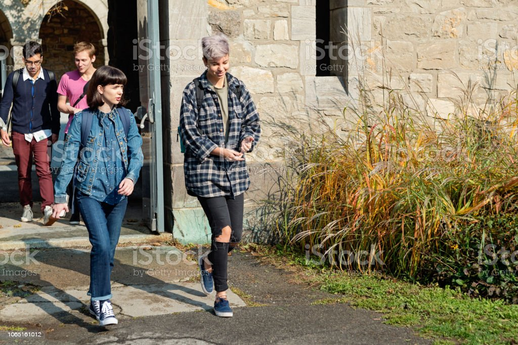 Small group of students going out College University entrance. stock photo
