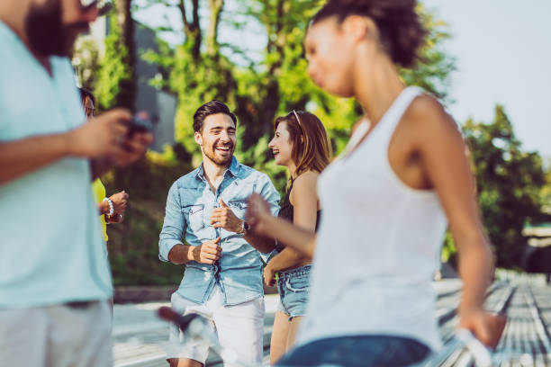 Small group of Teenagers Hanging Out stock photo
