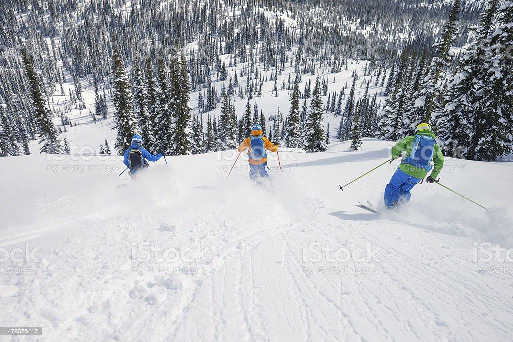 small group skiing stock photo