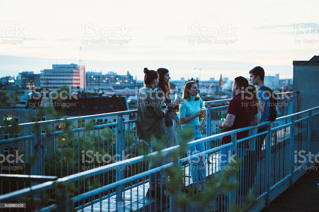 small group young adults, rooftop talking, drinking beer, skyline stock photo