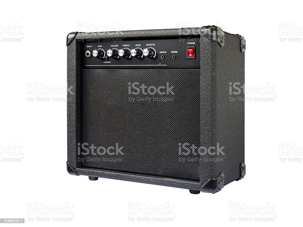 Small guitar amplifier isolated on white background stock photo