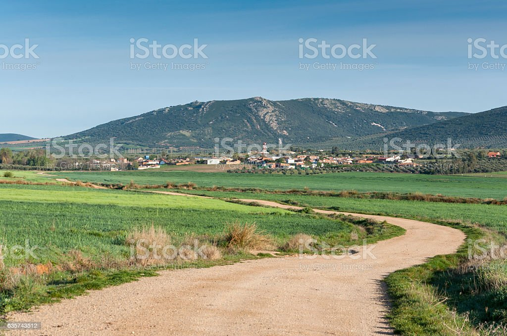 Small hamlet in an agricultural landscape in La Mancha stock photo