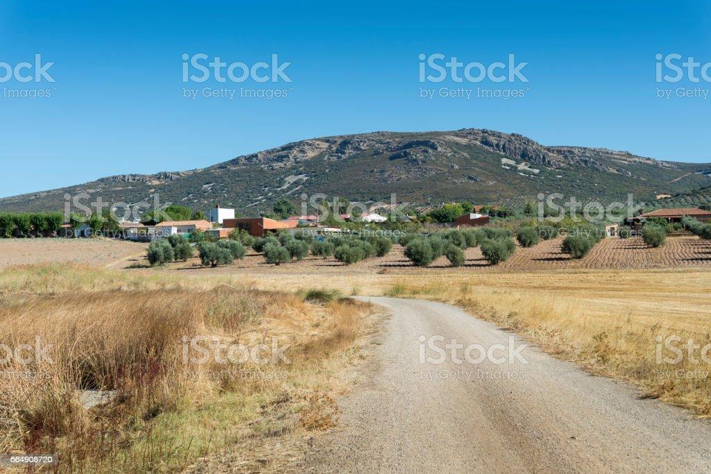 Small hamlet in La Mancha stock photo