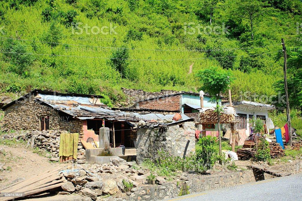 Small hamlet-Prithvi Highway. Aanbu Khaireni-Nepal. 0772 stock photo