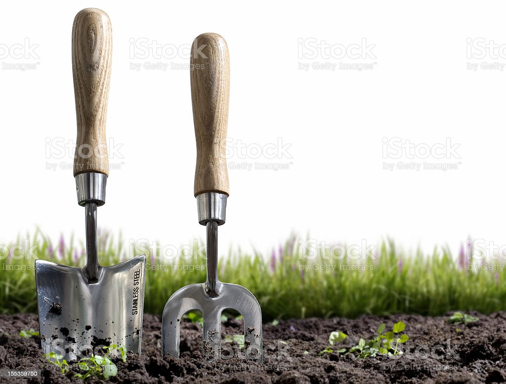 Small hand-held gardening trowel and fork stuck in some soil stock photo