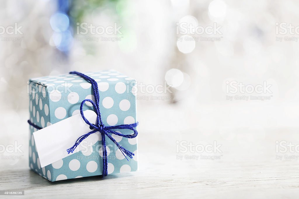 Small handmade gift box stock photo