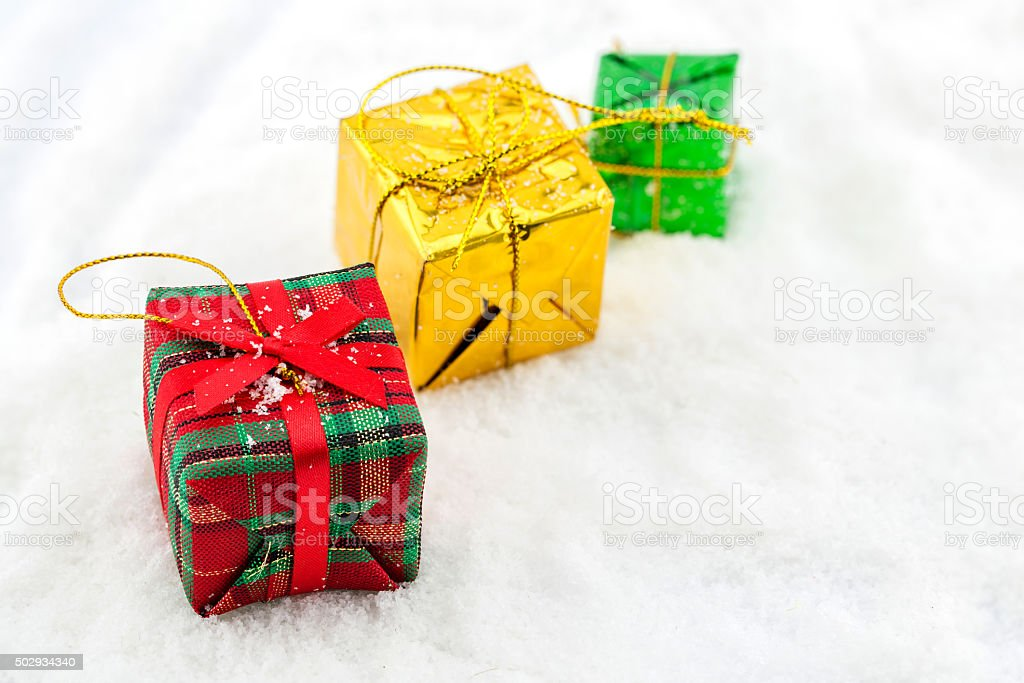 Small Handmade Gift Boxes With Snow Stock Photo Download Image Now