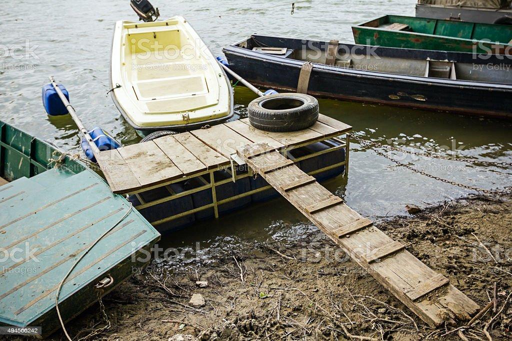 Small harbor for boats stock photo