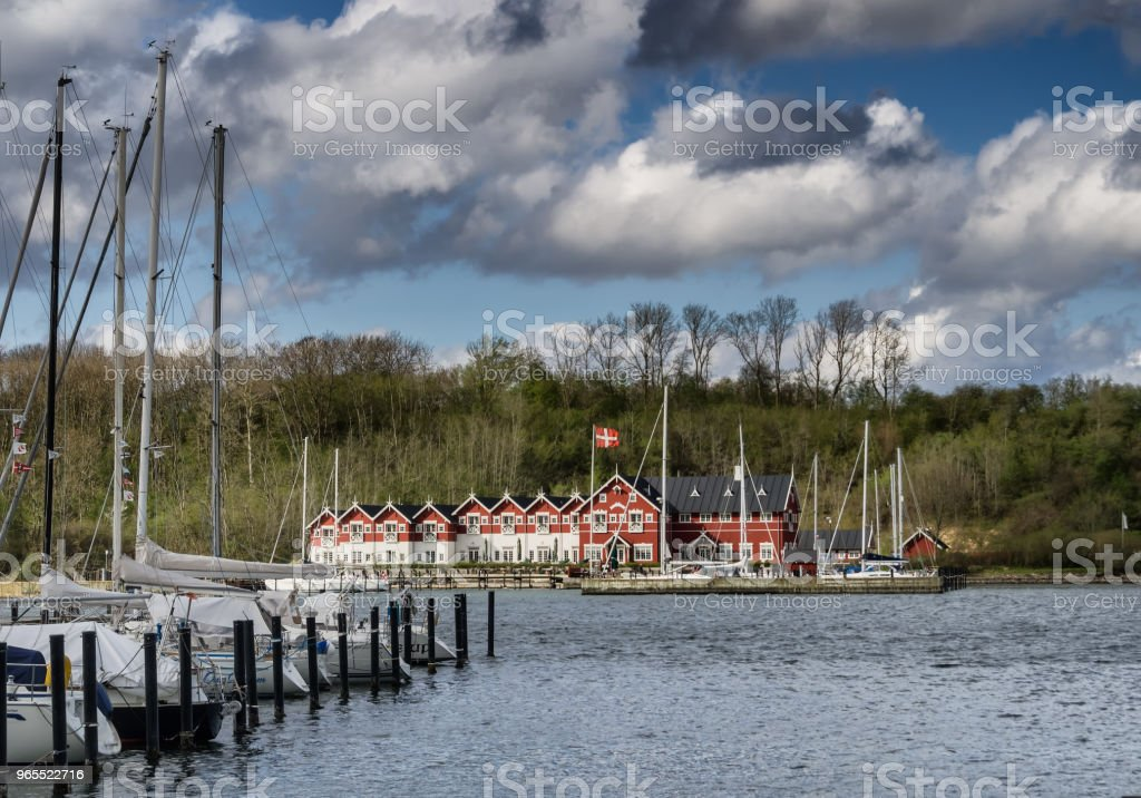 Small harbor in Dyvig on Als in Denmark stock photo