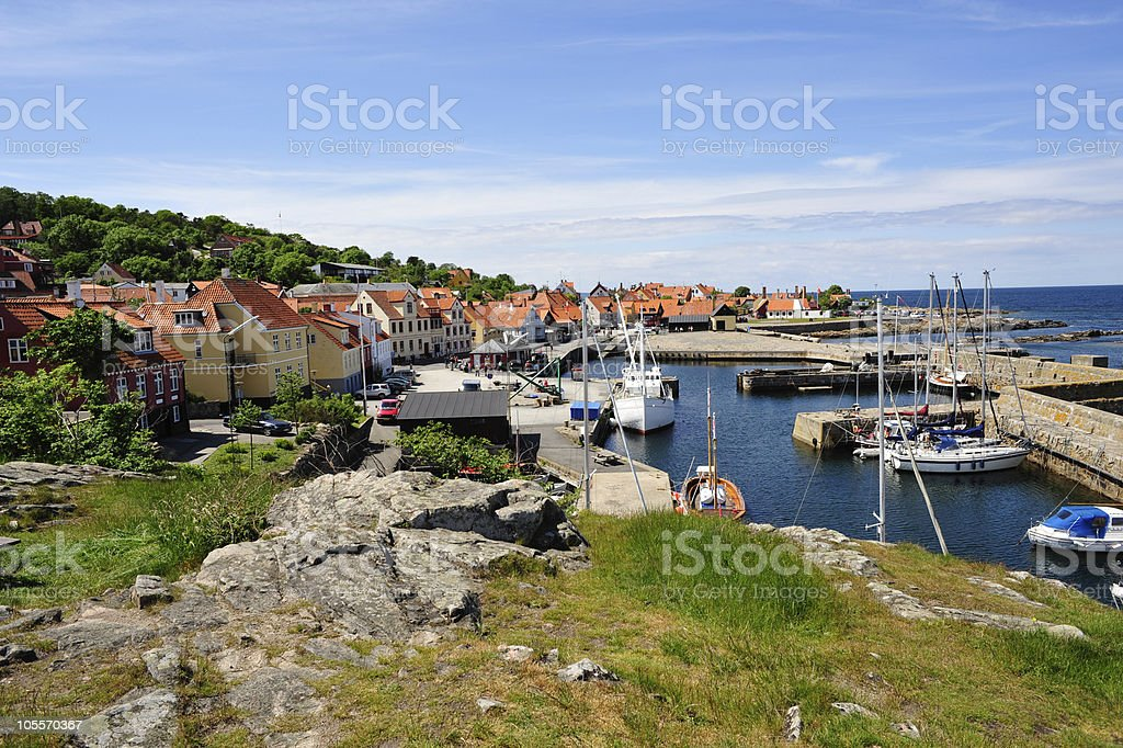 Small harbor on Bornholm royalty-free stock photo