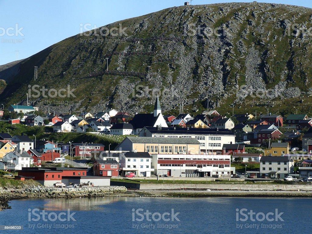 Small harbor town by the seaside royaltyfri bildbanksbilder