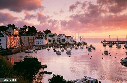 istock Small harbour Belle-Ile-en-Mer at sunset 108219438