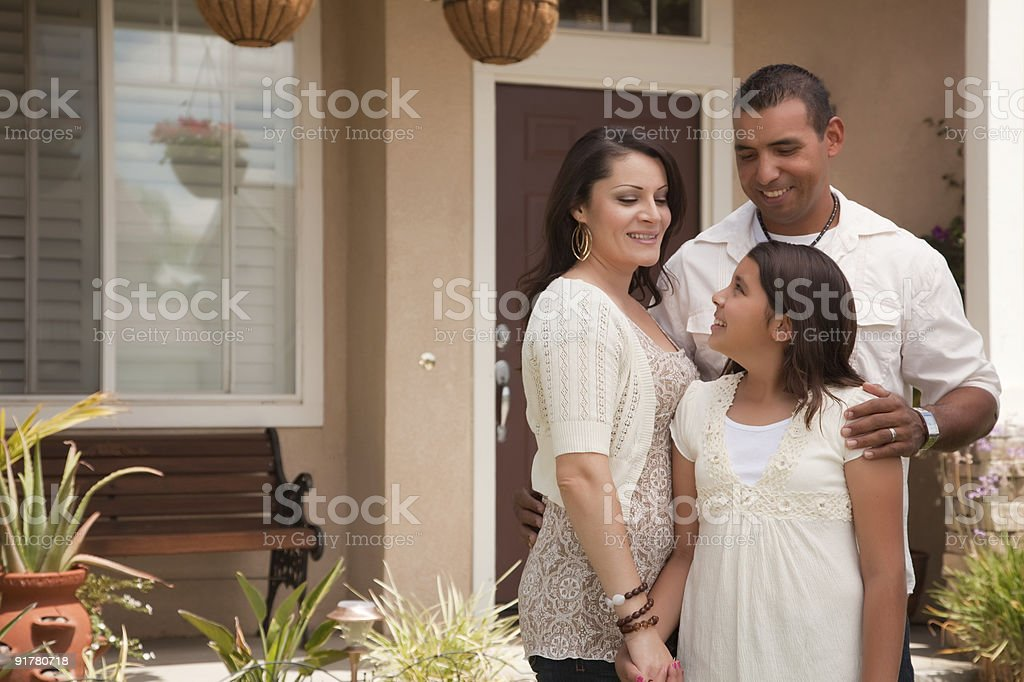 Small Hispanic Family in Front of Their Home stock photo