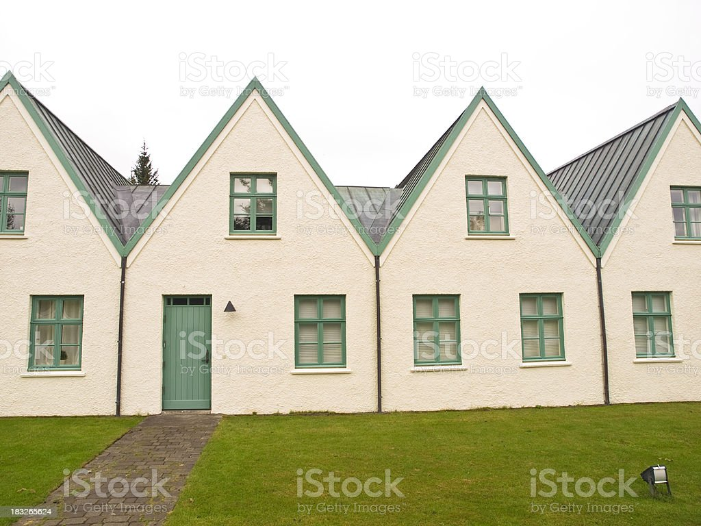 small historic houses with pitched roofs royalty-free stock photo