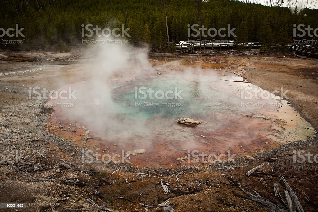 Small hot spring steaming in Yellowstone National Park royalty-free stock photo