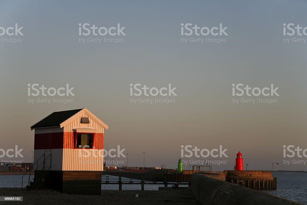 Small house at harbor royalty-free stock photo