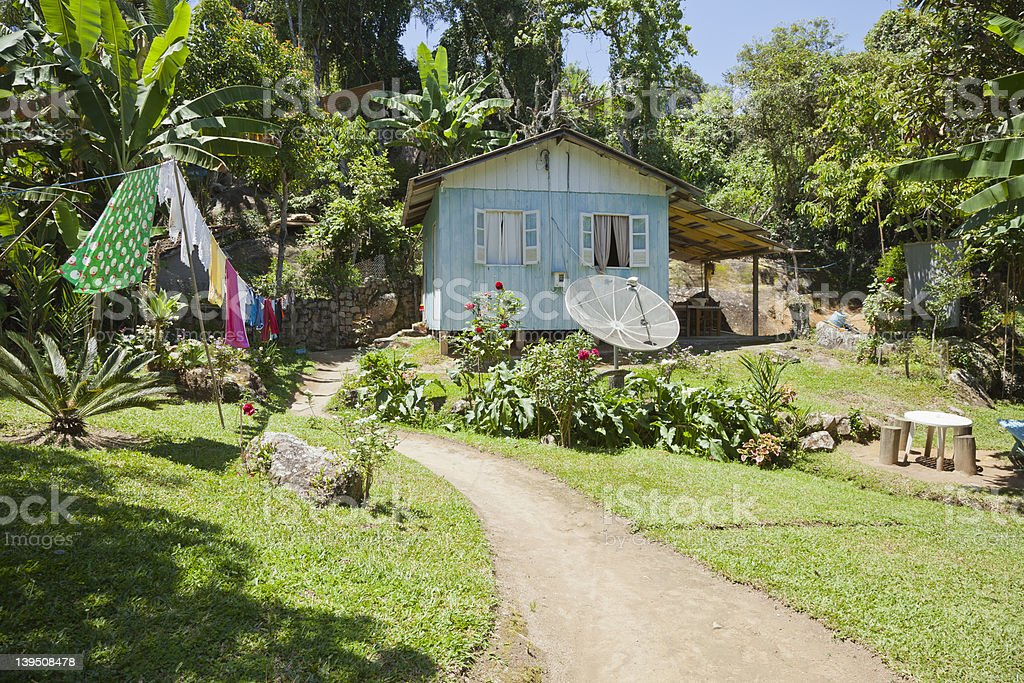 Small House in a Tropical Setting stock photo