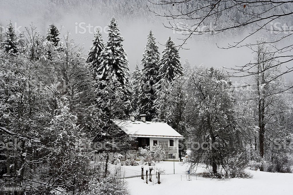 Small House in Winter royalty-free stock photo