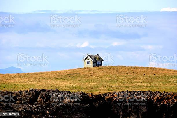 A small house on a small island in Iceland