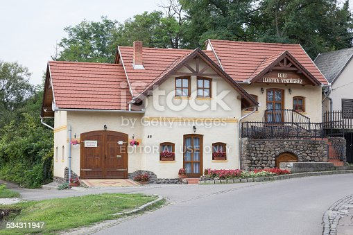 Eger, Hungary – September 15, 2014: Small house standing on the street sloped front view